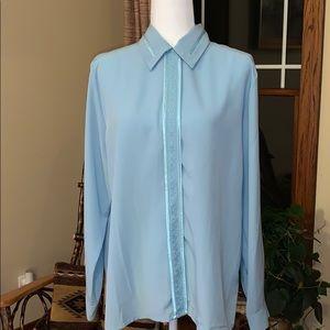 Vintage blue button up blouse 14